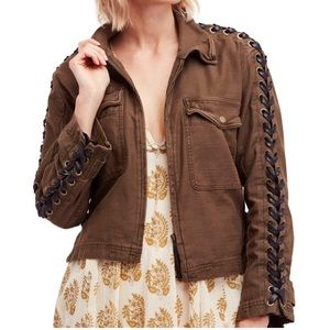 Free People Faye Military Jacket in Brown